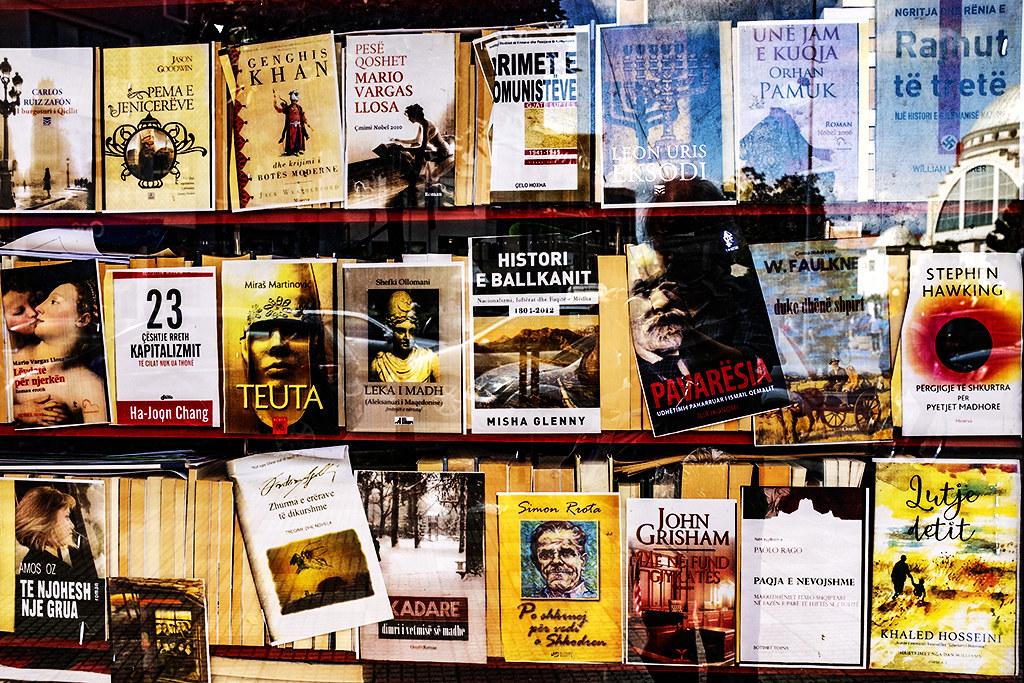 Sidewalk book kiosk on 5-6-21--Shkoder 4