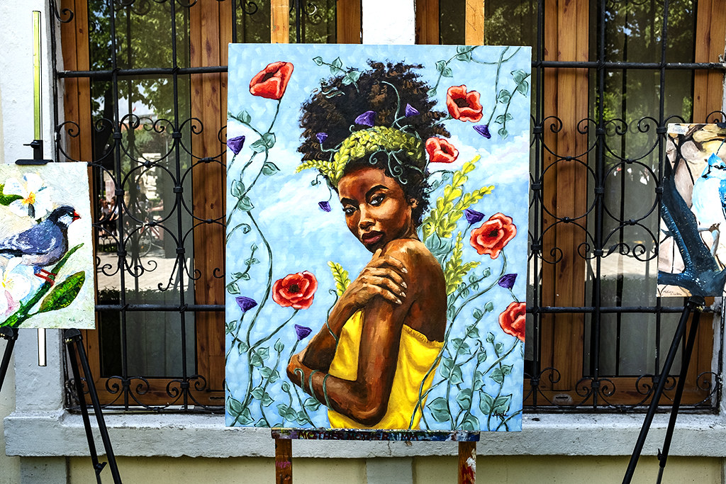 Painting of black woman on 5-6-21--Shkoder