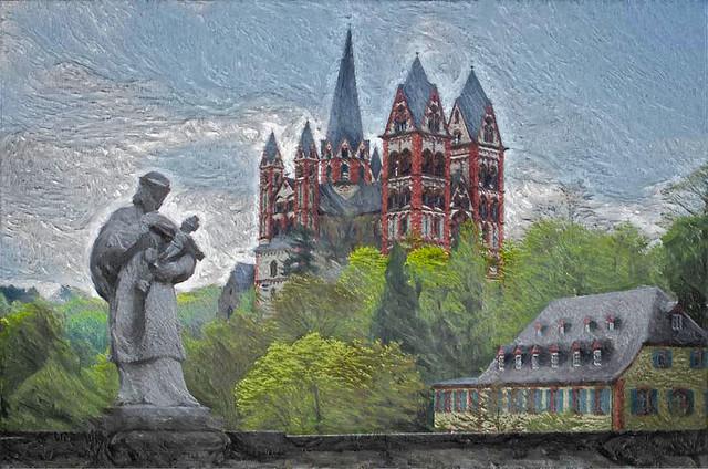 Limburg an der Lahn - Dom, Nepomuk Statue, Altes Landratsamt