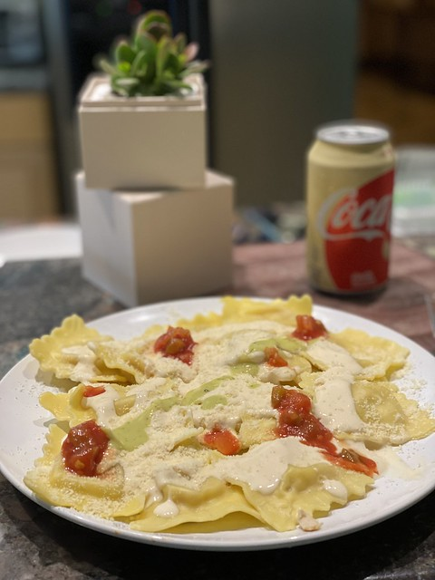 Thought For Food: Chicken & Roasted Garlic Ravioli With Sauce Medley Color Coordinated With Plant & Can Of Soda - IMRAN™