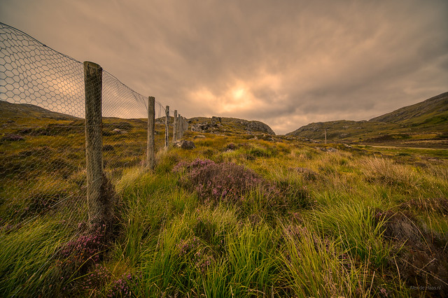 Fence on the way to the top of the mountain. Gairloch, Scotland.