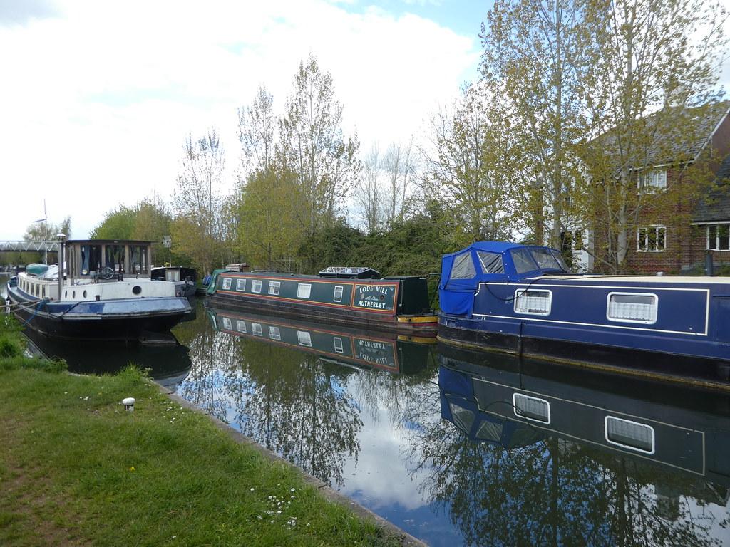 Canal boats moored at Aldermaston Wharf