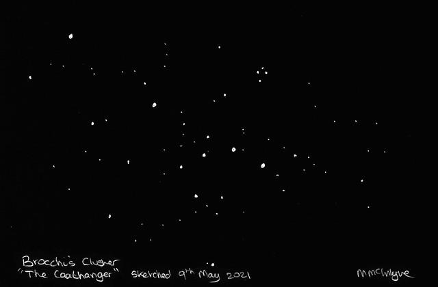 The Coat Hanger (Brocchi's Cluster) Pencil Sketch Inverted 09/05/21