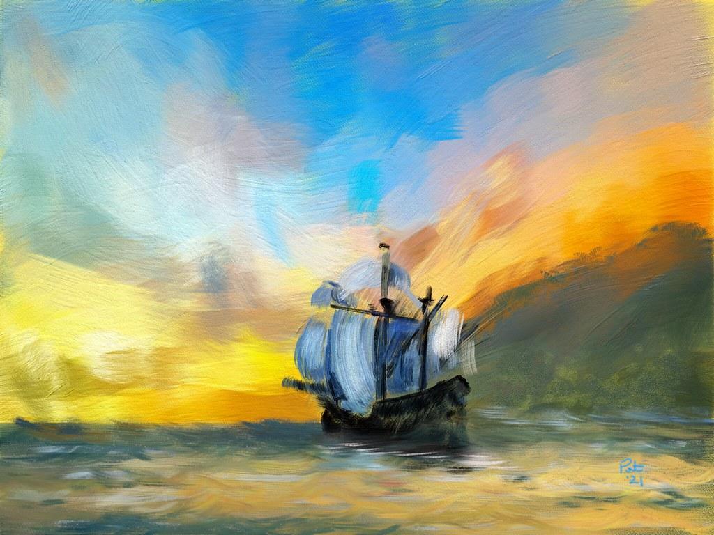 The Pirates Leaving Treasure Island