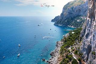 Vista sud dai Giardini di Augusto, sull'Isola di Capri