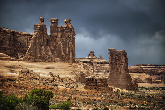 arches in storm light