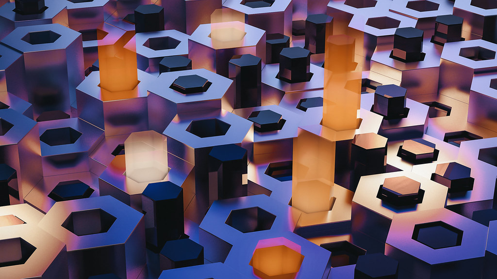 Hexagonal abstract shapes with different hights and light beams coming out of the centers of some of those pillars.
