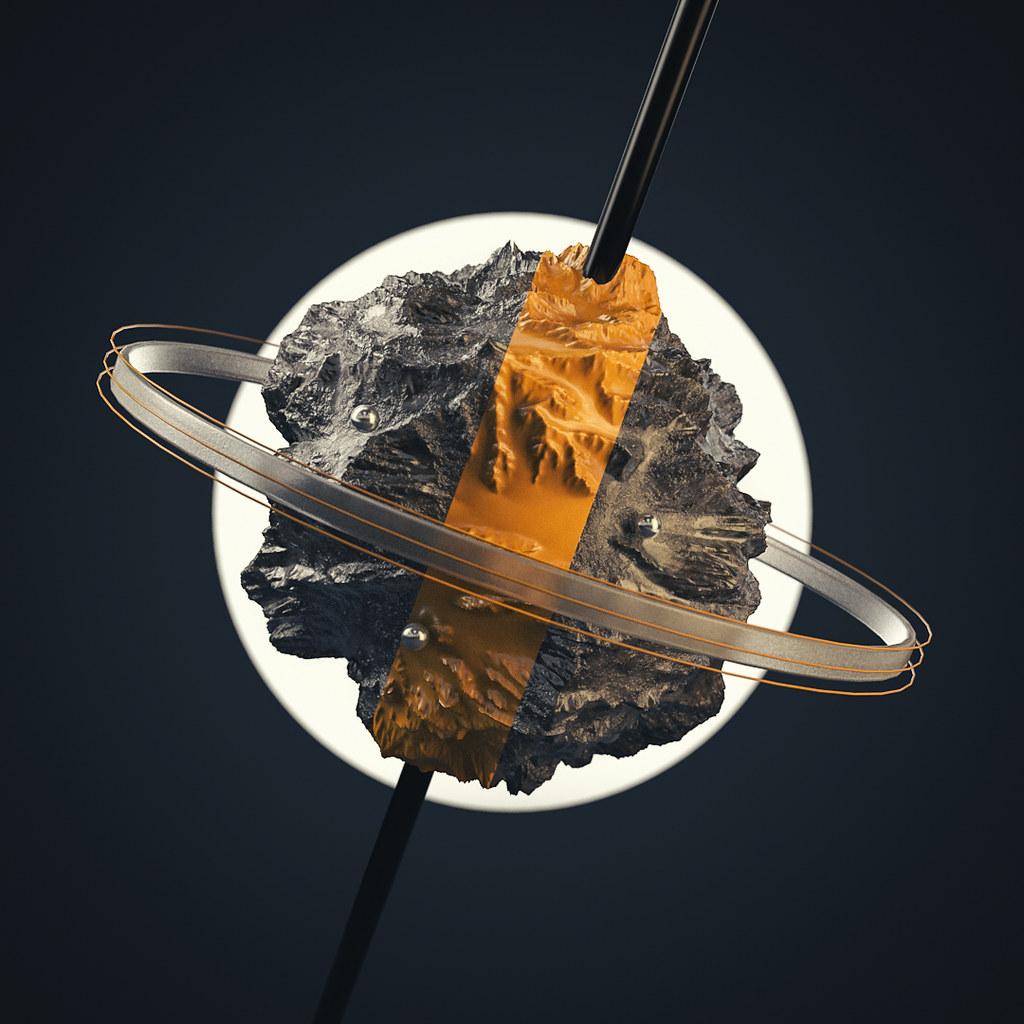 A miniature rocky earth on a stick.