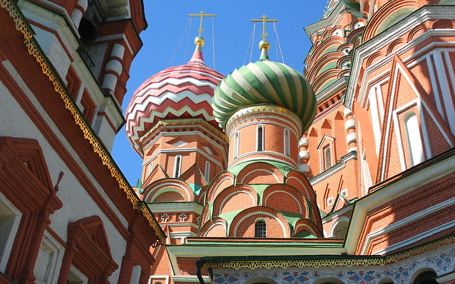 Holy Russia, Moscow Architecture, fragment of Saint Basil's Cathedral - Cathedral of the Protection of Most Holy Theotokos on the Moat (since 1561), Red Square & Vasilyevsky Descent Square, Tverskoy district. Православнаѧ Црковь.