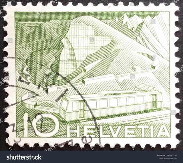 Switzerland, circa 1950: used Swiss postage stamp showing Mountain Railway at Rocher de Naye.