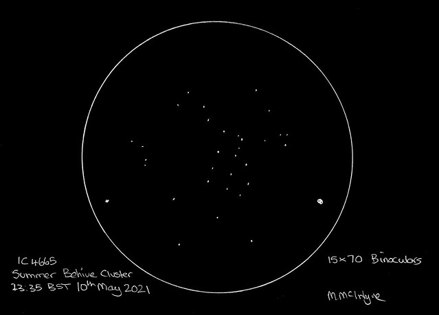 IC 4665 the Summer Beehive Cluster - Pencil Sketch (Inverted)