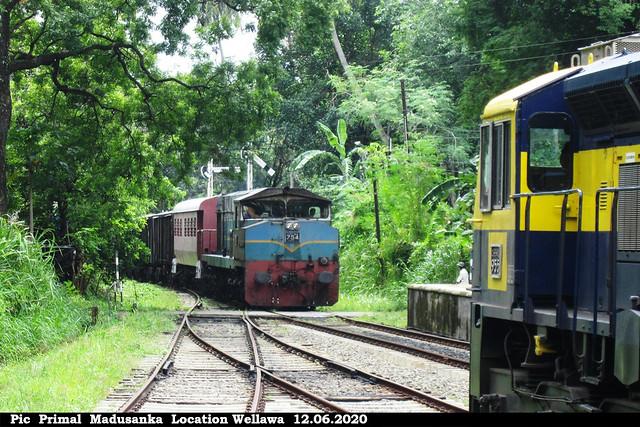 Jaffna bound passenger train  waiting for Freight train at Wellawa in 12.06.2020
