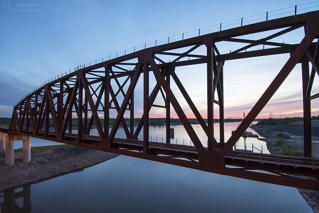 Paducah and Louisville Railway (PAL)-New Kentucky Dam Bridge at sunset - Gilbertsville, Kentucky