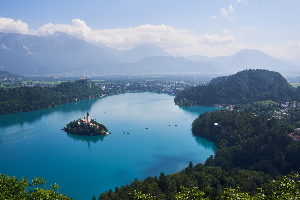 Lake Bled in Slowenia with the alps in the background.