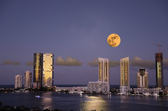 Red moon over Sunny Isles