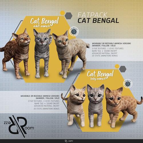 [Rezz Room] Bengal Cat Adult Animesh and [Rezz Room] Bengal Cat Baby Animesh