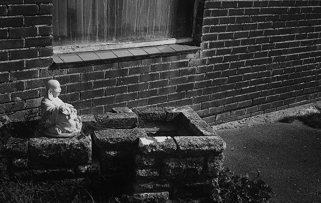 Buddha against an old brick wall
