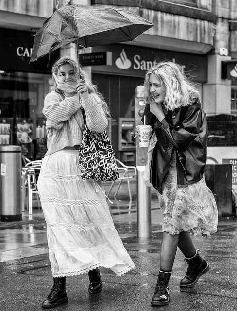 Windy and wet on Cardiff Queen Street.