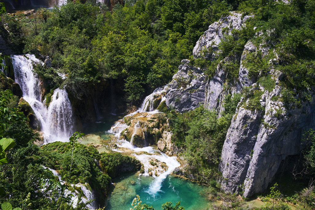 Waterfalls in the Plitvicer Lakes.