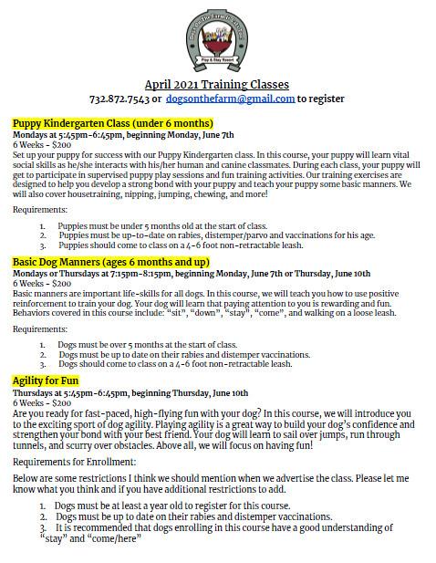 June training flier
