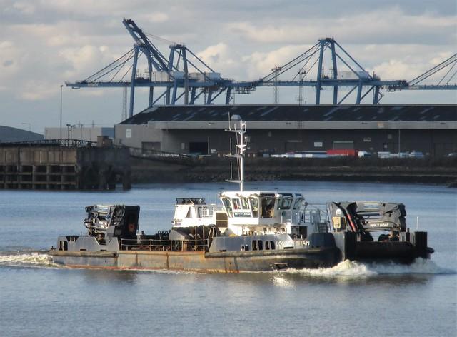 PLA Mooring Maintenance Vessel London Titan on the River Thames at Tilbury on 05.02.21