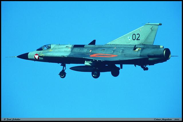 Draken J35Ö 02 35-1402 Fliegerregiment2 1Staffel Colmar Meyenheim juin 2002