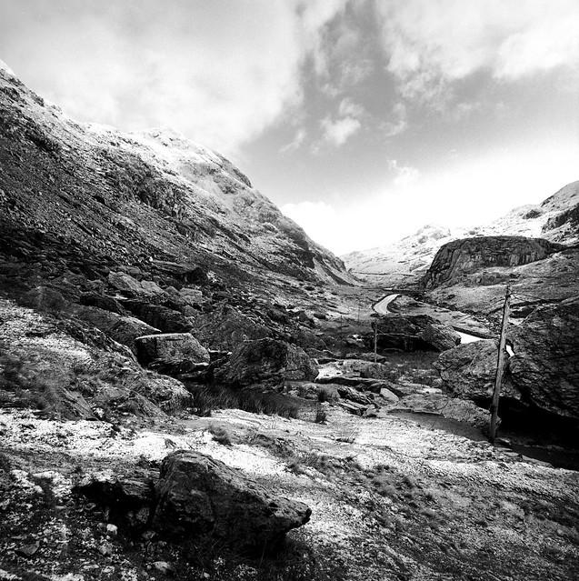 Llanberis Pass in winter