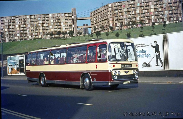 BR 18th August 1973 CWX484H AEC Reliance Plaxton Felix Motors on hire to SUT in Sheffield.