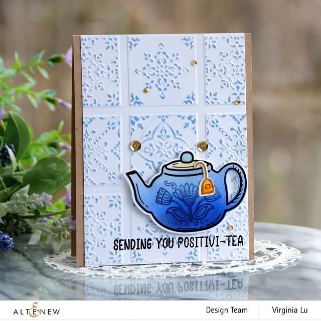 Altenew-Dreamy Tile 3D Embossing Folder-Tea For Two Stamp & Die Bundle (2)