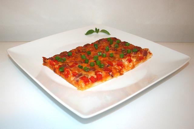 13 - Pizza with salami, bell pepper & onion - Side view / Pizza mit Salami, Paprika & Zwiebel - Seitenansicht