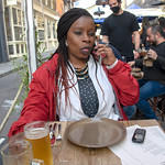 DSC_9877 Shoreditch High Street and Redchurch Street Smoking Goat Asian fusion Restaurant Interesting Menu London COVID-19 Coronavirus Al Fresco Outdoor Dining and Drinking with Sopie from Côte d'Ivoire Out on the Town on her Phone Again!