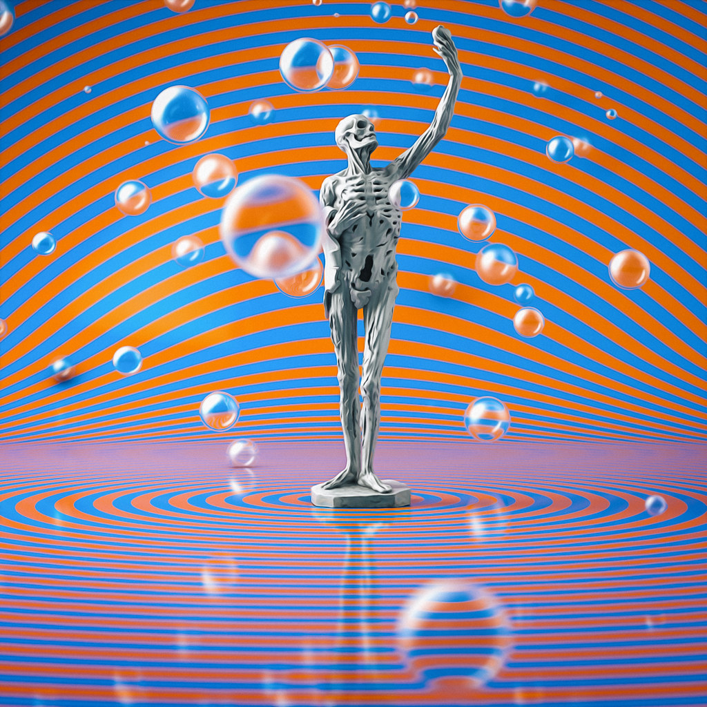 A skeleton standing in a seemingly endless room that has blue-orange stripes.