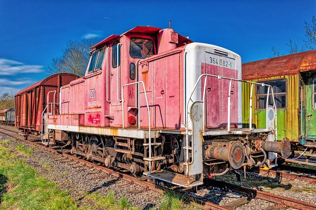 The red Diesel Locomotive