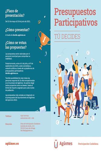 Folleto informativo de los presupuestos participativos del Ayuntamiento de Agüimes