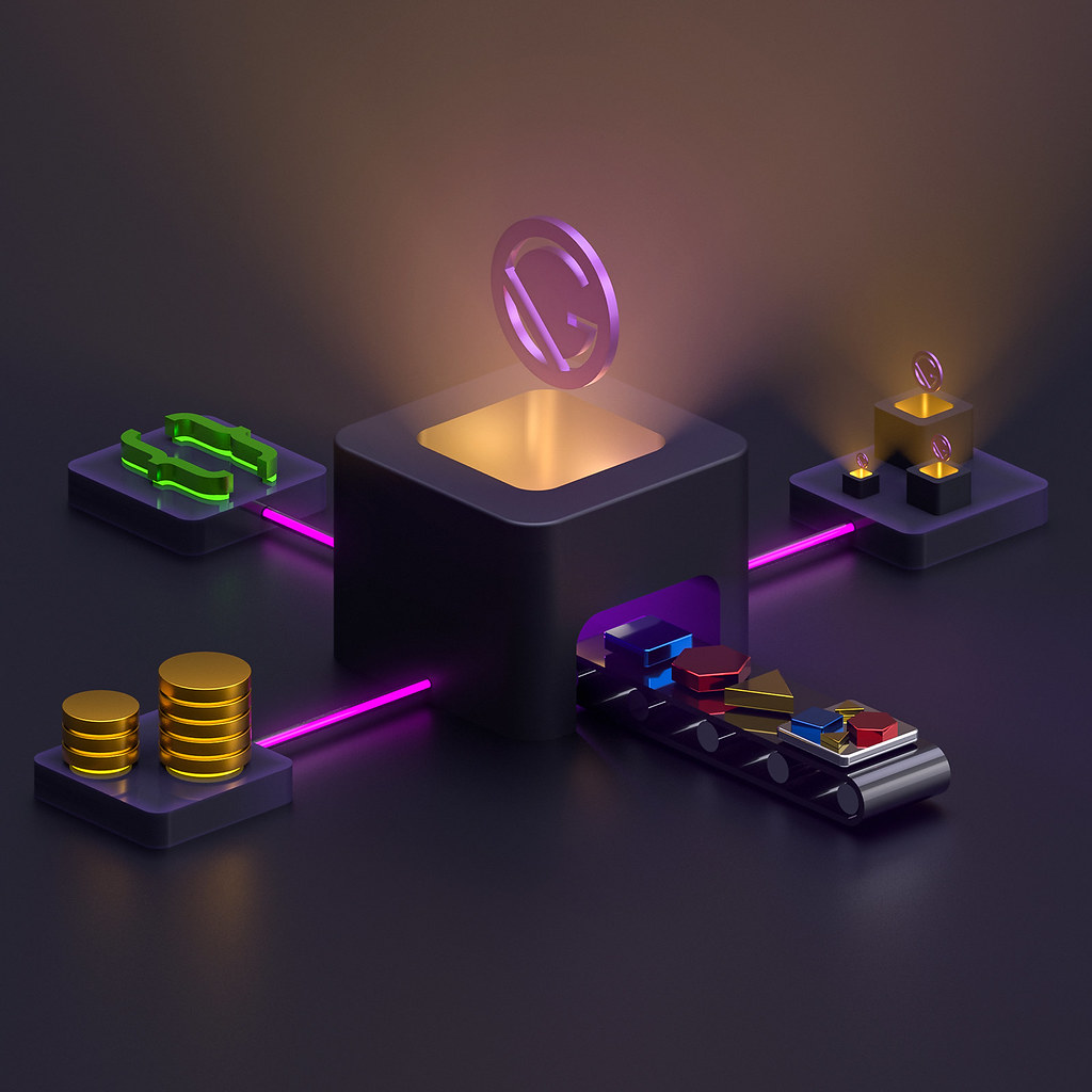 An isometric illustration of a Gatsby theme, with components, data layer, external sources and themes itself.