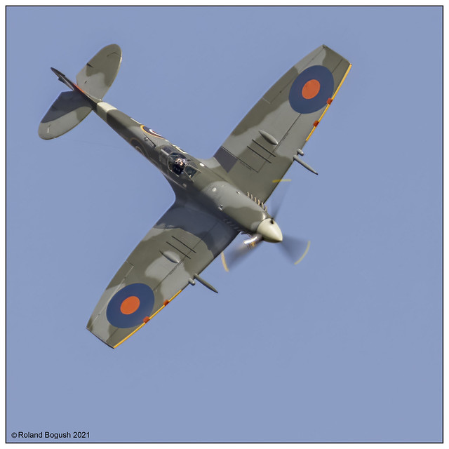 Spitfire Mk Vc AR 501 diving out of the blue sky