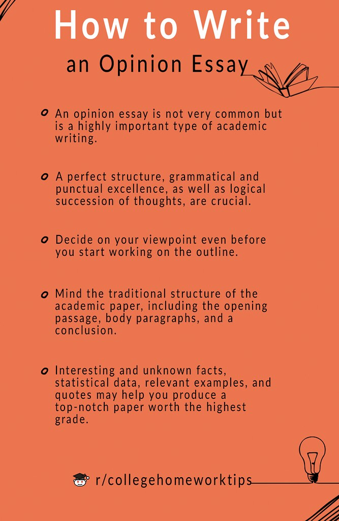 text with tips about opinion essay