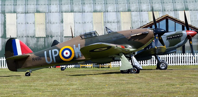RAF Hawker Hurricane Mk-1 R4118 G-HUPW UP-W 605 Squadron & RAF Supermarine Spitfire two-seater T.9 trainer version MkIX PV202 G-CCCA 5R-H No 33 Squadron