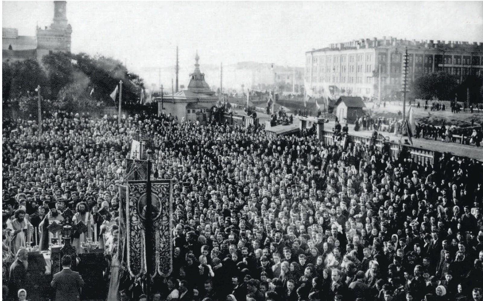 1903. Торжественное освящение места закладки каменного храма Воскресения Христова на Обводном канале