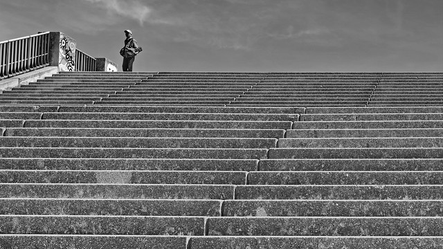 lonely man on the stairs