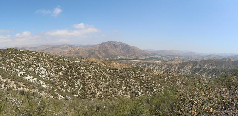 Panorama view north into Soledad Canyon, with Parker Mountain (center)