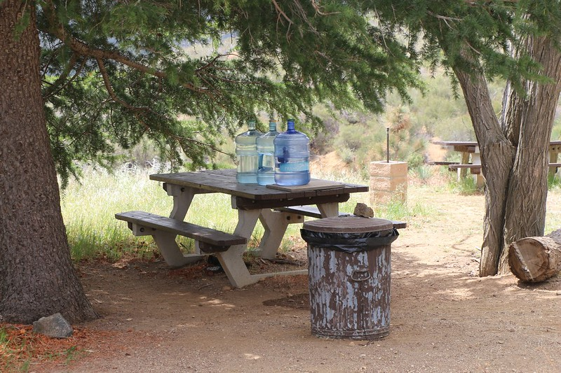 Five Gallon Jugs of water left out for PCT Hikers by the North Fork Ranger Station caretaker, Todd - Thanks!