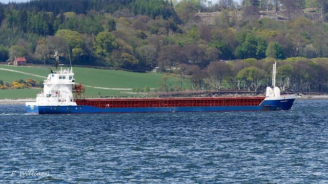 Carolin G (General Cargo Ship), passing Bute and Cumbrae