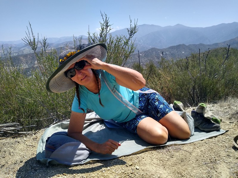 Vicki took a well-deserved rest on top of the ridge near Mattox Canyon, before our descent into Soledad Canyon
