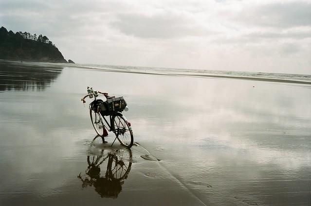 Biking on the beach. Long Beach Peninsula, WA. 22 April 2021
