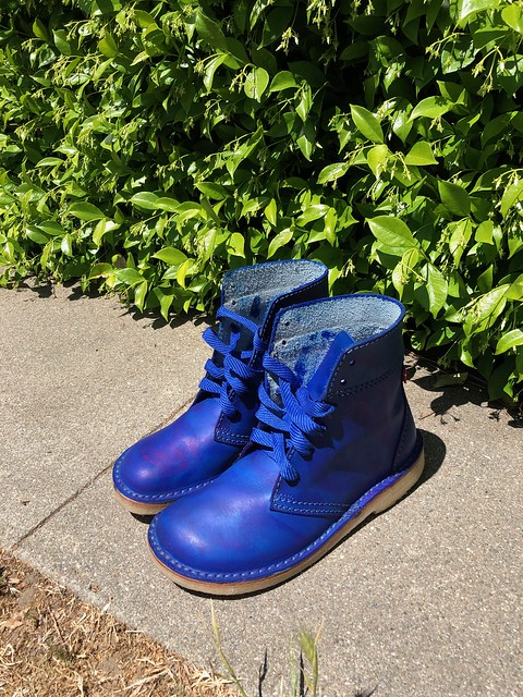 blue boots after I dyed them