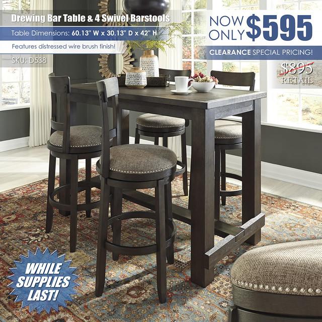 Drewing Bar Table & 4 Swivel Barstools_D538-MOOD-B_Clearance