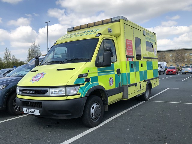 Operated by North Yorkshire based, Emergency Response Driver Training, seen at Wetherby Services on 24/04/2021.  E11RDT Iveco Daily 40C17 with a MacNeillie Emergency Ambulance body, now in use as a Driver Training Unit.  Originally registered KE05AXF.