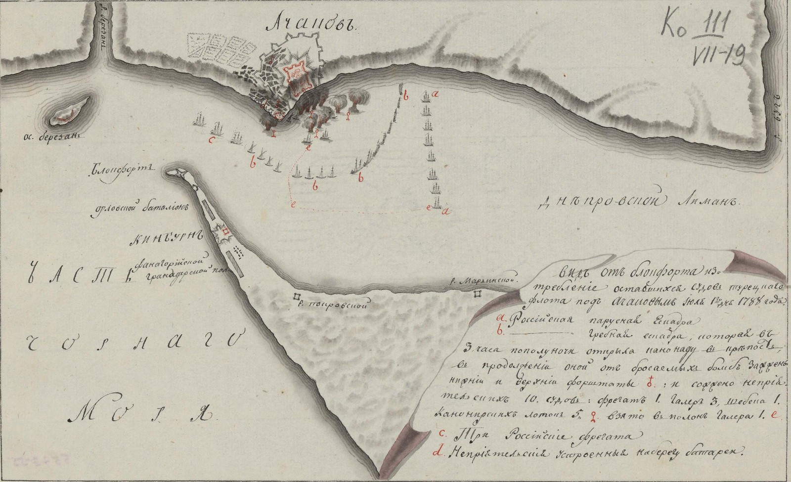 Черное море. Вид от Блонфорта. Изтребление оставшихся судов турецкаго флота под Ачаковым июля 1-го дня 1788 года