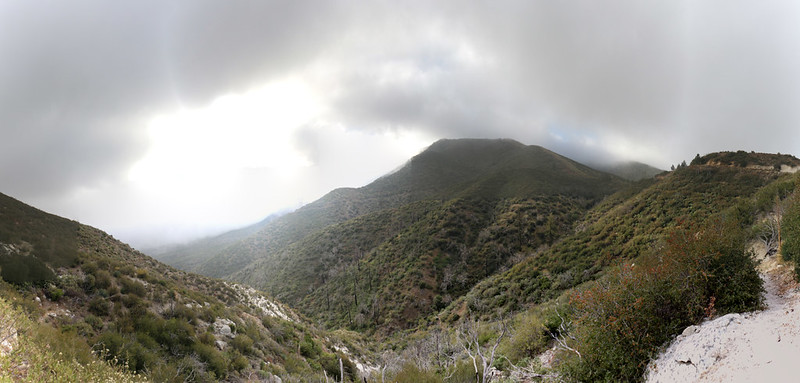 Panorama shot to the east, with the North Fork Ranger Station on the far right